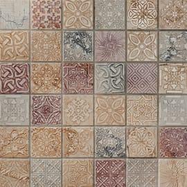 Mosaico Badges H 30 x L 30 cm rosa, bianco, grigio