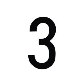 Numero 3 adesivo, 8 x 5 cm