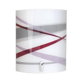 Applique Graphit bianco, grigio, viola e cromo, in vetro, 24x20 cm, E14 MAX40W IP20