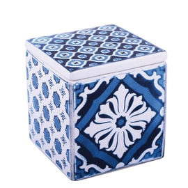 Porta cotone Mosaic in ceramica bianco blu SENSEA