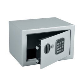 Cassaforte con codice elettronico a mobile fissaggio a pavimento<multisep/>da fissare a parete 28 x 18 x 20 cm