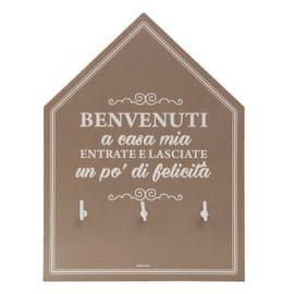 Bacheca portachiavi Casa dolce casa 3 ganci multicolore 200 x 150 mm x 1 cm
