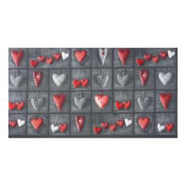 Tappeto Cucina antiscivolo Full cuori patch grigio 100x55 cm