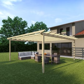Pergola Eagle in legno marrone L 594 x P 594 x H 272 cm