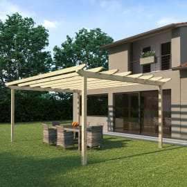 Pergola Eagle in legno marrone L 417.6 x P 594 x H 272 cm