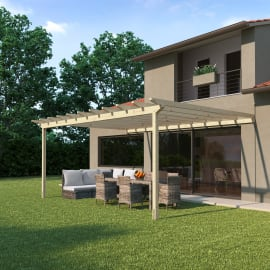 Pergola Eagle in legno marrone L 594 x P 417.6 x H 272 cm