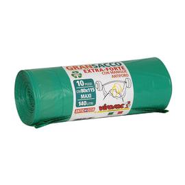 Sacchi spazzatura GranSacco L 80 x H 115 cm 140 L verde 10 pezzi