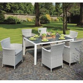 Set tavolo e sedie Varigotti in rattan sintetico bianco 6 posti