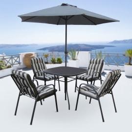 Set tavolo e sedie Marsiglia in acciaio nero 4 posti