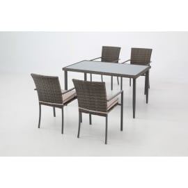 Set tavolo e sedie Nassau in acciaio grigio / argento 4 posti