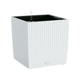 Vaso Cubico Cottage LECHUZA in plastica bianco H 40 , L 40 X P 40 cm