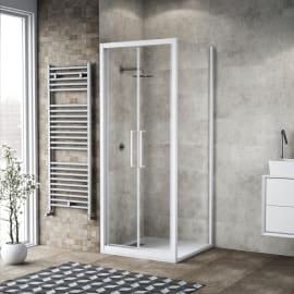 Box doccia rettangolare battente 90 x 80 cm, H 195 cm in vetro, spessore 6 mm trasparente bianco