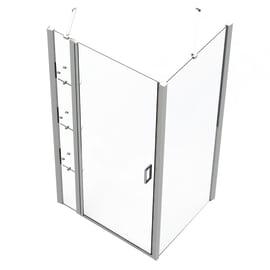 Box doccia rettangolare battente 100 x 70 cm, H 195 cm in vetro temprato, spessore 6 mm trasparente argento