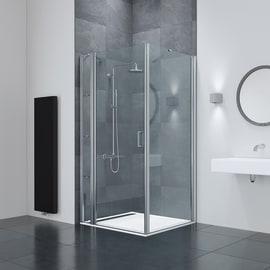 Box doccia rettangolare battente 100 x 80 cm, H 195 cm in vetro temprato, spessore 6 mm trasparente argento