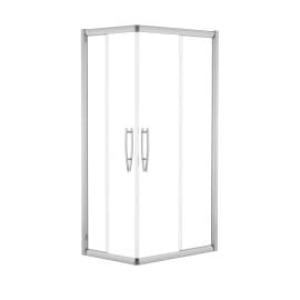 Box doccia rettangolare scorrevole 70 x 90 cm, H 195 cm in vetro temprato, spessore 8 mm trasparente argento