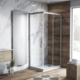 Box doccia rettangolare scorrevole Namara 70 x 90 cm, H 195 cm in vetro temprato, spessore 8 mm trasparente argento