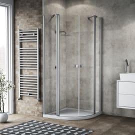 Box doccia semicircolare battente Neo 89.5 x 90 cm, H 201.7 cm in alluminio e vetro, spessore 6 mm trasparente argento