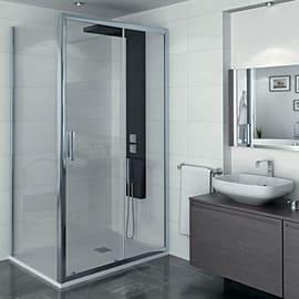 Porta doccia 1 anta fissa + 1 anta scorrevole Manhattan 120 cm, H 200 cm in alluminio, spessore 6 mm trasparente cromato