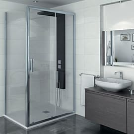 Porta doccia scorrevole Manhattan 140 cm, H 200 cm in alluminio, spessore 6 mm trasparente cromato