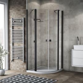Box doccia semicircolare battente Neo 89.5 x 90 cm, H 201.7 cm in alluminio e vetro, spessore 6 mm trasparente nero