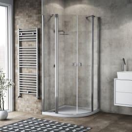 Box doccia semicircolare battente Neo 99.5 x 100 cm, H 201.7 cm in alluminio e vetro, spessore 6 mm trasparente cromato