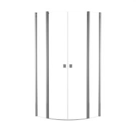Box doccia semicircolare battente Neo 89.5 x 90 cm, H 201.7 cm in alluminio e vetro, spessore 6 mm trasparente cromato