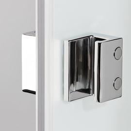 Box doccia semicircolare battente Neo 99.5 x 100 cm, H 201.7 cm in alluminio e vetro, spessore 6 mm trasparente bianco