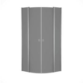 Box doccia semicircolare battente Neo 79.5 x 80 cm, H 201.7 cm in alluminio e vetro, spessore 6 mm fumé argento