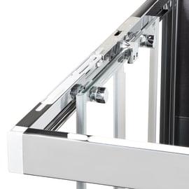 Box doccia semicircolare battente Neo 89.5 x 90 cm, H 201.7 cm in alluminio e vetro, spessore 6 mm fumé argento