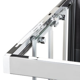 Box doccia semicircolare battente Neo 89.5 x 90 cm, H 201.7 cm in alluminio e vetro, spessore 6 mm serigrafato argento