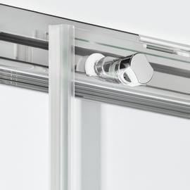 Box doccia semicircolare battente Neo 79.5 x 80 cm, H 201.7 cm in alluminio e vetro, spessore 6 mm serigrafato cromato