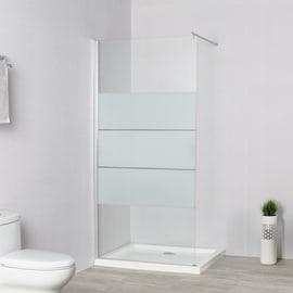 Doccia walk in L 90, H 195 cm, vetro 6 mm serigrafato cromato