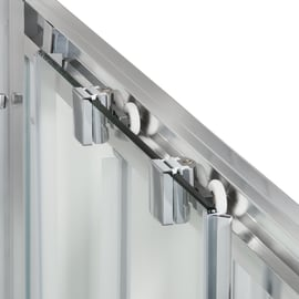 Box doccia quadrato scorrevole Quad 80 x 100 cm, H 190 cm in vetro temprato, spessore 6 mm trasparente argento