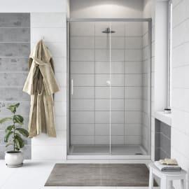 Porta doccia 1 anta fissa + 1 anta scorrevole Remix 120 cm, H 195 cm in vetro, spessore 6 mm trasparente argento