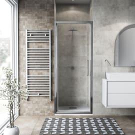 Porta doccia battente Record 85 cm, H 195 cm in vetro temprato, spessore 6 mm trasparente argento
