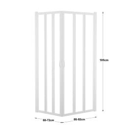 Box doccia rettangolare pieghevole 70 x 90 cm, H 185 cm in acrilico, spessore 2 mm serigrafato bianco