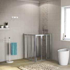 Box doccia rettangolare battente 80 x 80 cm, H 190 cm in vetro temprato, spessore 6 mm trasparente cromato