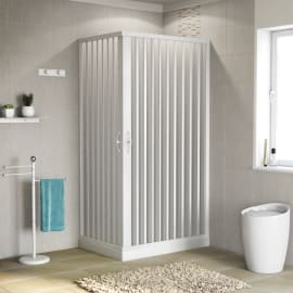 Box doccia rettangolare 70 x 100 cm, H 185 cm in pvc, spessore 2 mm vetro di sicurezza serigrafato bianco