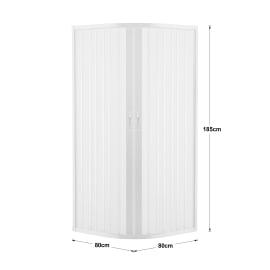 Box doccia semicircolare scorrevole 80 x 80 cm, H 185 cm in pvc, spessore 2 mm vetro di sicurezza serigrafato bianco
