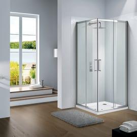 Box doccia quadrato scorrevole Slimline 70 x 70 cm, H 195 cm in vetro, spessore 6 mm trasparente argento