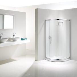 Box doccia semicircolare scorrevole Namara 90 x 90 cm, H 195 cm in vetro temprato, spessore 8 mm trasparente argento