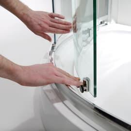 Box doccia semicircolare scorrevole 100 x 100 cm, H 195 cm in vetro temprato, spessore 8 mm trasparente argento