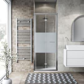 Porta doccia pieghevole Record 85 cm, H 195 cm in vetro temprato, spessore 6 mm serigrafato argento