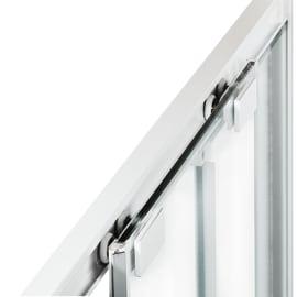 Box doccia rettangolare scorrevole 140 x 80 cm, H 195 cm in vetro, spessore 6 mm spazzolato bianco