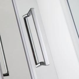 Box doccia semicircolare scorrevole 100 x 100 cm, H 195 cm in vetro temprato, spessore 6 mm trasparente argento
