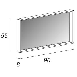 Specchio con illuminazione integrata bagno rettangolare Venus L 90 x H 55 cm
