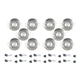 Faretto orientabile da incasso orientabile tondo Clane in alluminio, nichel, diam. 8.2 cm 2.46x8.2cm GU10 10x6W IP23 INSPIRE10 pezzi