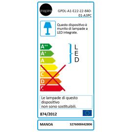 Faretto fisso da incasso tondo Manoa in metallo, bianco, diam. 22.78 cm LED integrato 22W 2660LM IP44 INSPIRE