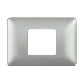 Placca BTICINO Matix 2 moduli argento