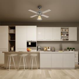 Ventilatore da soffitto Majuro bianco, in acciaio diam. 106cm, con telecomando, INSPIRE